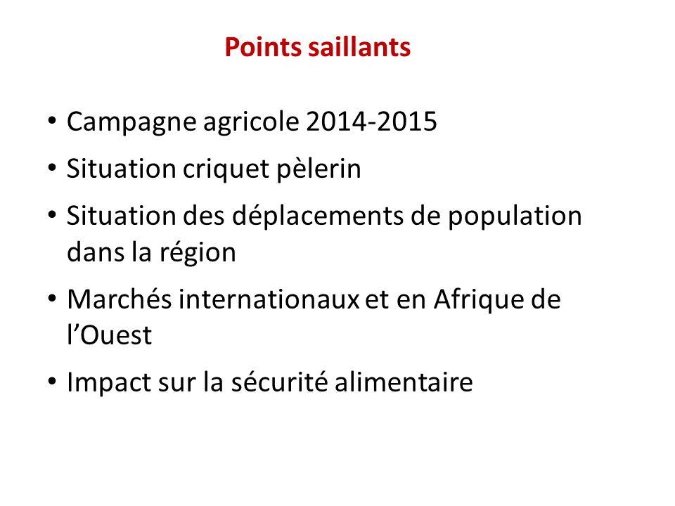 Points saillants Campagne agricole 2014-2015 Situation criquet pèlerin Situation des déplacements de population dans la région Marchés internationaux