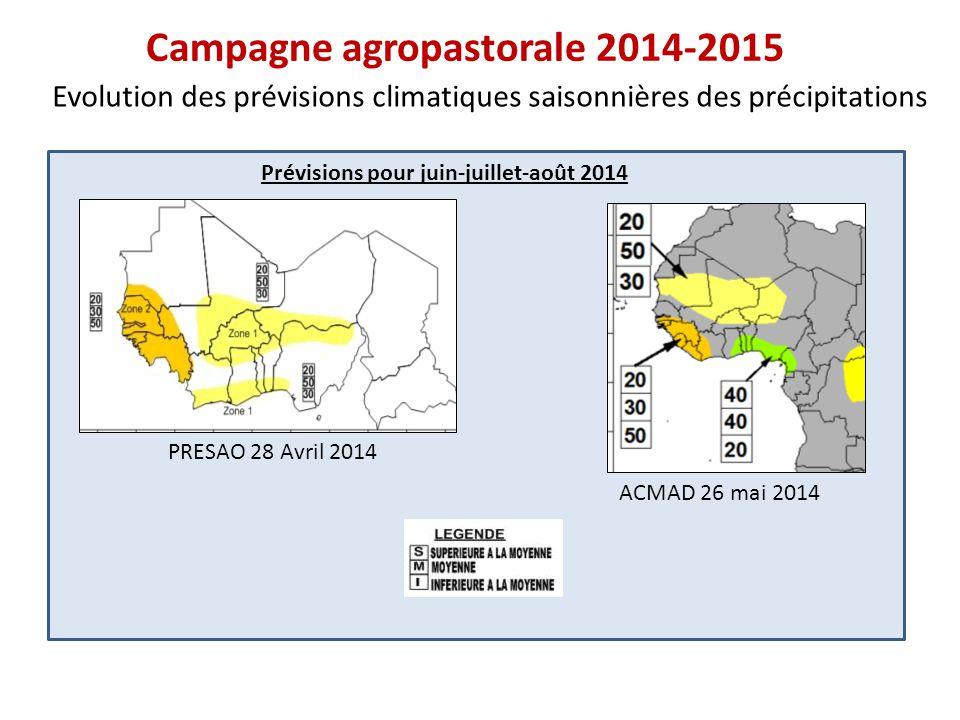 Prévisions pour juillet-août-septembre 2014 Campagne agropastorale 2014-2015 Evolution des prévisions climatiques saisonnières des précipitations PRESAO 28 Avril 2014 ACMAD 26 mai 2014