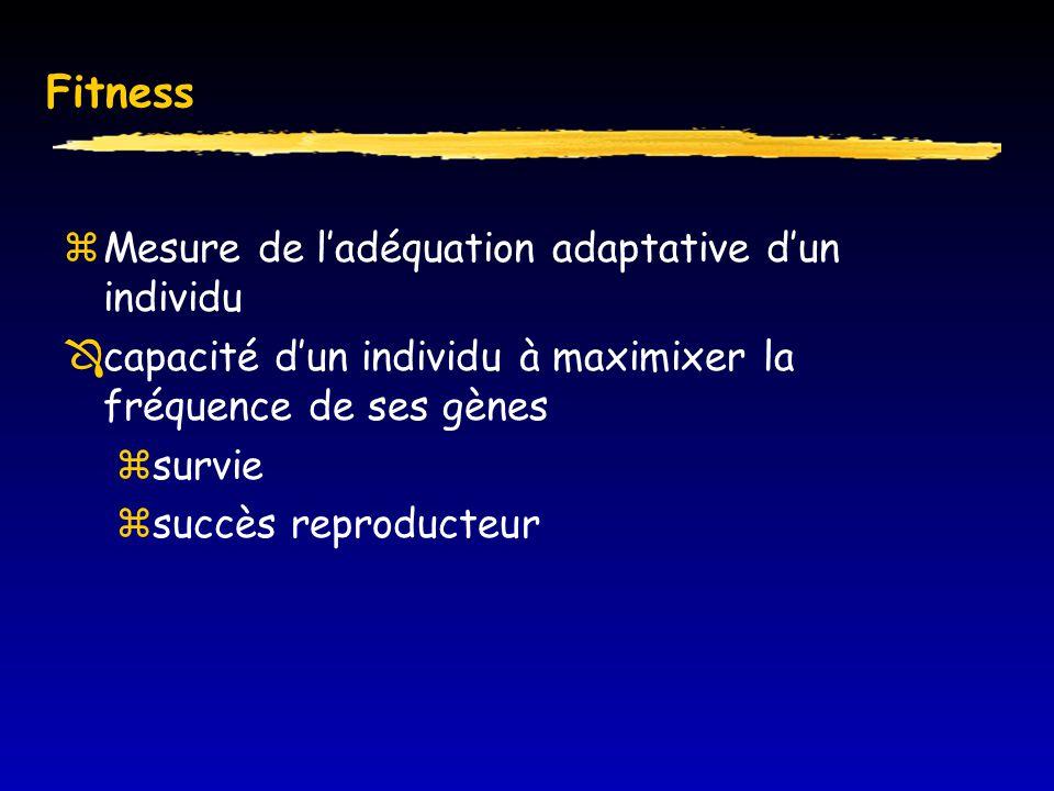 Fitness  Mesure de l'adéquation adaptative d'un individu  capacité d'un individu à maximixer la fréquence de ses gènes  survie  succès reproducteur