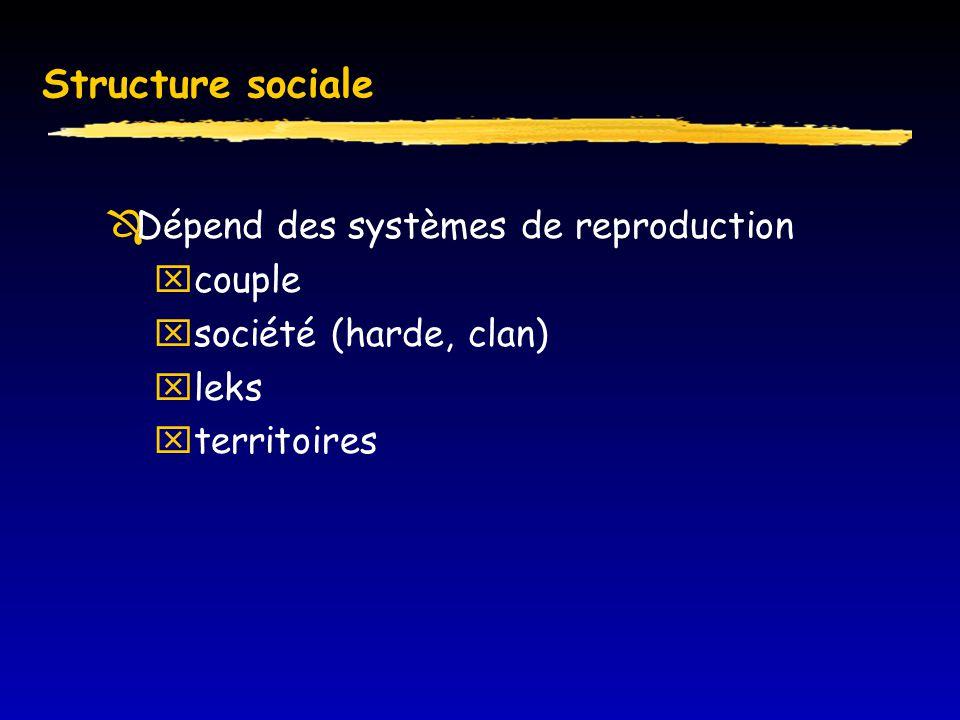 Structure sociale  Dépend des systèmes de reproduction  couple  société (harde, clan)  leks  territoires