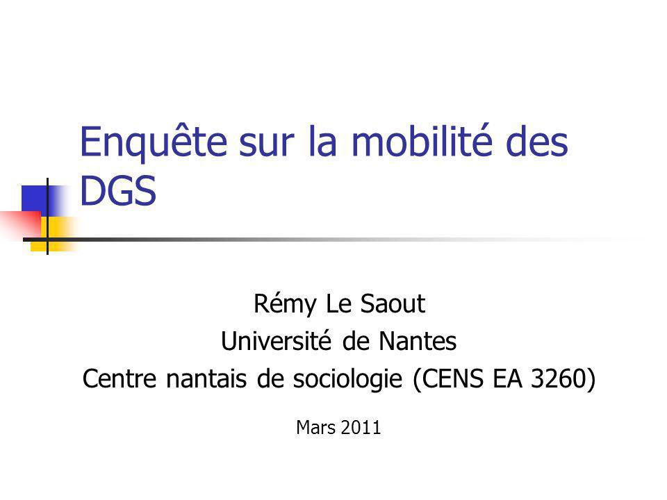 Enquête sur la mobilité des DGS Rémy Le Saout Université de Nantes Centre nantais de sociologie (CENS EA 3260) Mars 2011