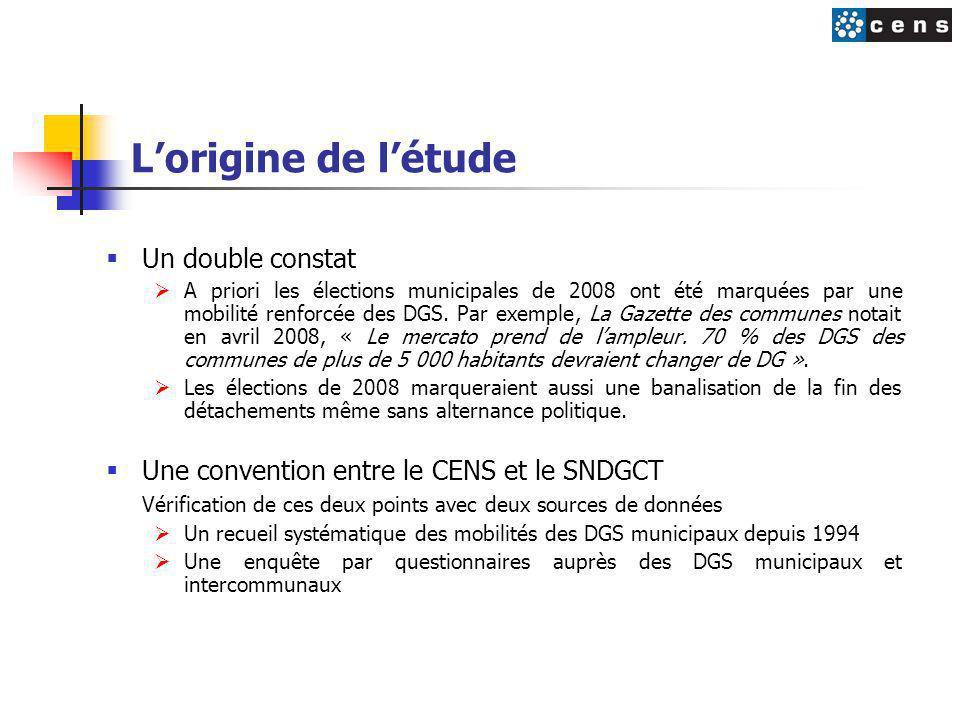 L'origine de l'étude  Un double constat  A priori les élections municipales de 2008 ont été marquées par une mobilité renforcée des DGS. Par exemple