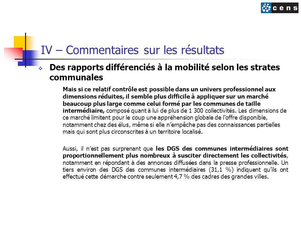 IV – Commentaires sur les résultats  Des rapports différenciés à la mobilité selon les strates communales Mais si ce relatif contrôle est possible da