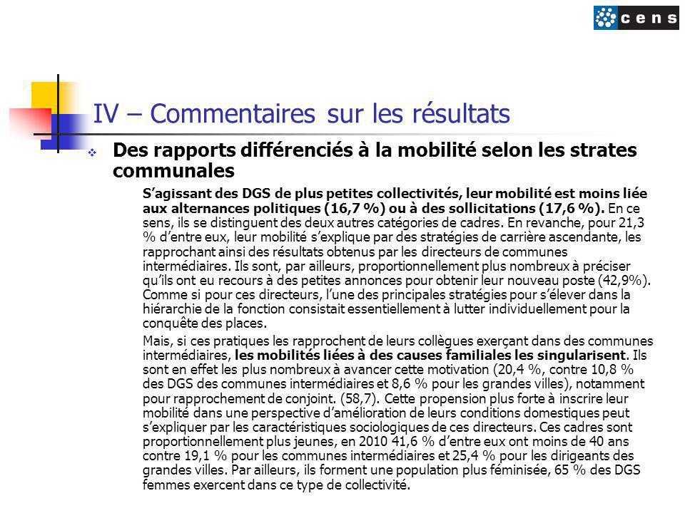 IV – Commentaires sur les résultats  Des rapports différenciés à la mobilité selon les strates communales S'agissant des DGS de plus petites collectivités, leur mobilité est moins liée aux alternances politiques (16,7 %) ou à des sollicitations (17,6 %).