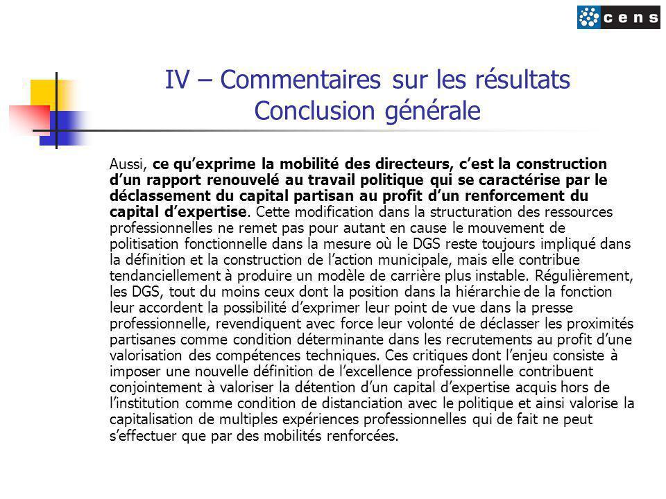 IV – Commentaires sur les résultats Conclusion générale Aussi, ce qu'exprime la mobilité des directeurs, c'est la construction d'un rapport renouvelé