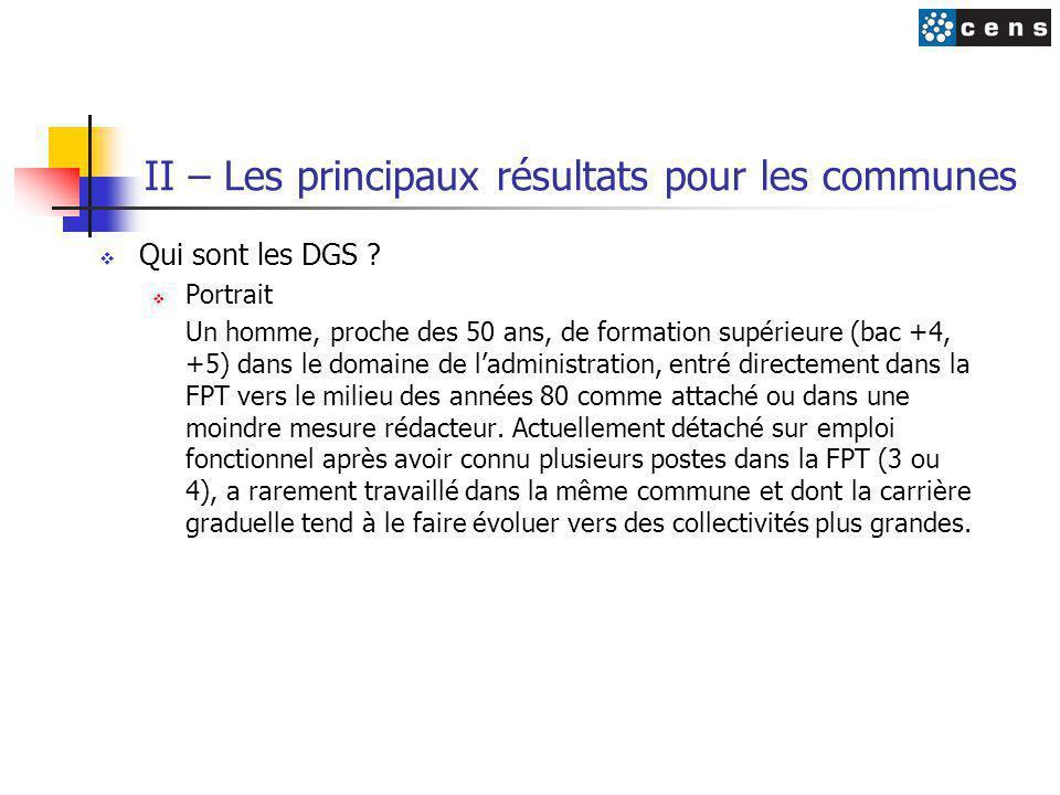 II – Les principaux résultats pour les communes  Qui sont les DGS ?  Portrait Un homme, proche des 50 ans, de formation supérieure (bac +4, +5) dans
