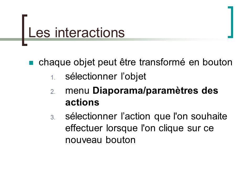 Les transitions il est aussi possible de créer des effets entre les diapositives, menu Diaporama/Transitions un volet s'ouvre à droite