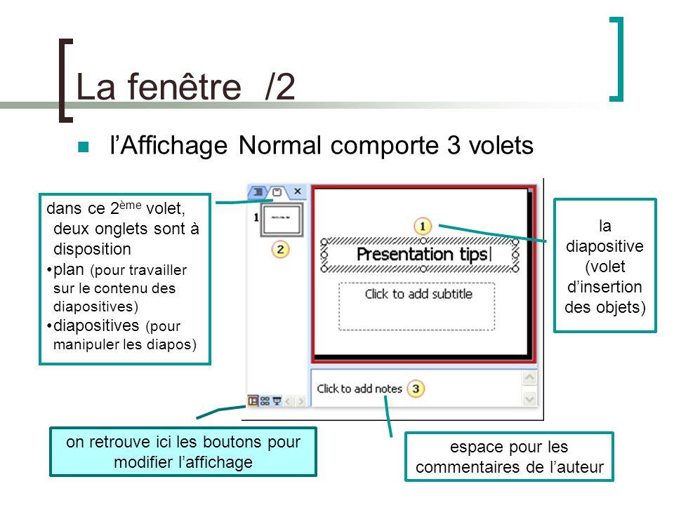 La diapositive /1 créer une diapositive soit avec le menu Insertion/Nouvelle diapositive ou CTRL + M le 2 ème volet/onglet diapositive facilite la gestion des diapositives.