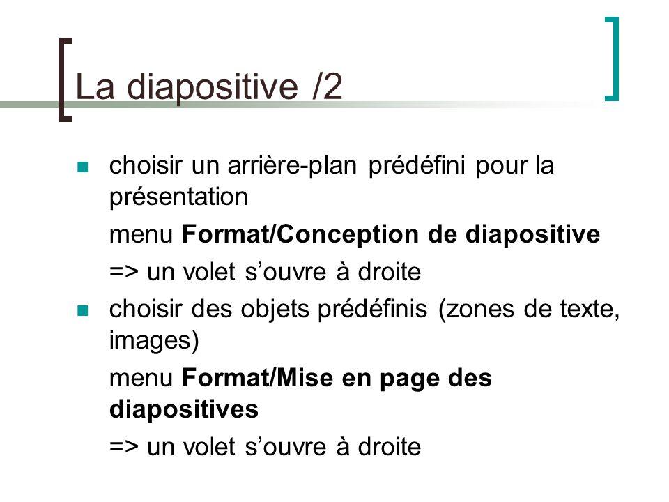 Les objets chaque élément d'une diapositive est appelé un objet.