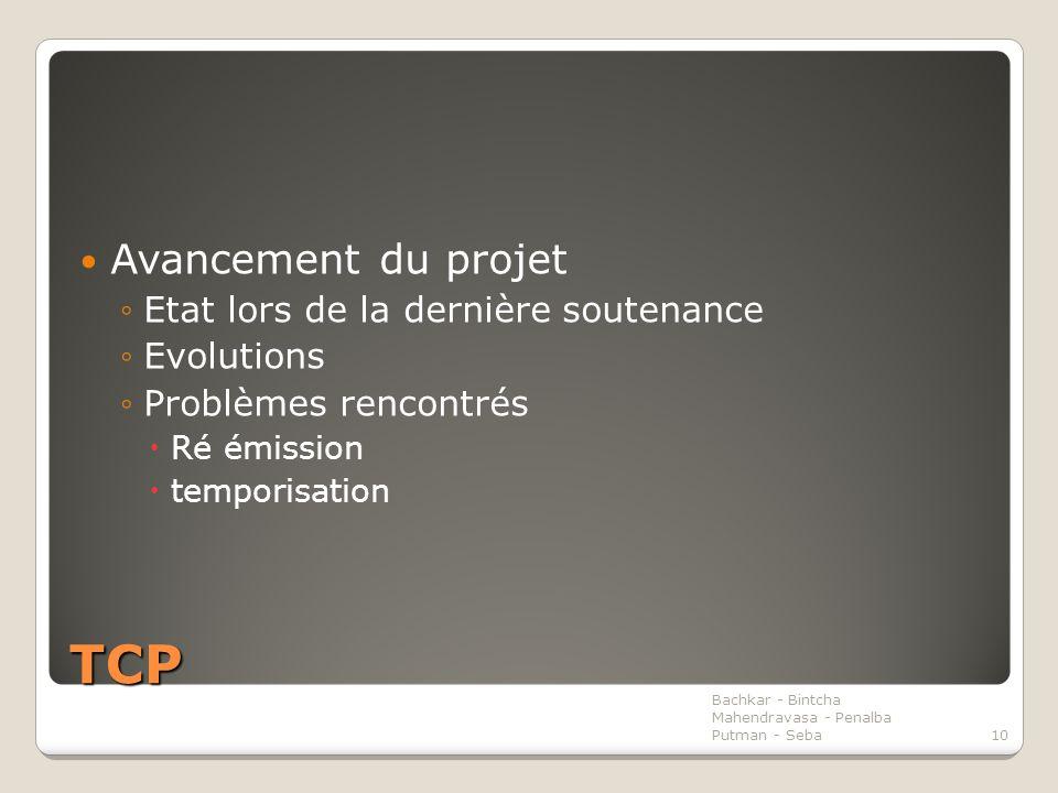 TCP Avancement du projet ◦Etat lors de la dernière soutenance ◦Evolutions ◦Problèmes rencontrés  Ré émission  temporisation Bachkar - Bintcha Mahendravasa - Penalba Putman - Seba10