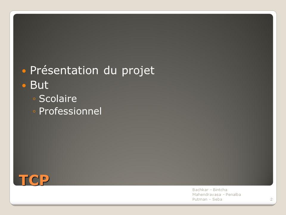 TCP Présentation du projet But ◦Scolaire ◦Professionnel Bachkar - Bintcha Mahendravasa - Penalba Putman - Seba2