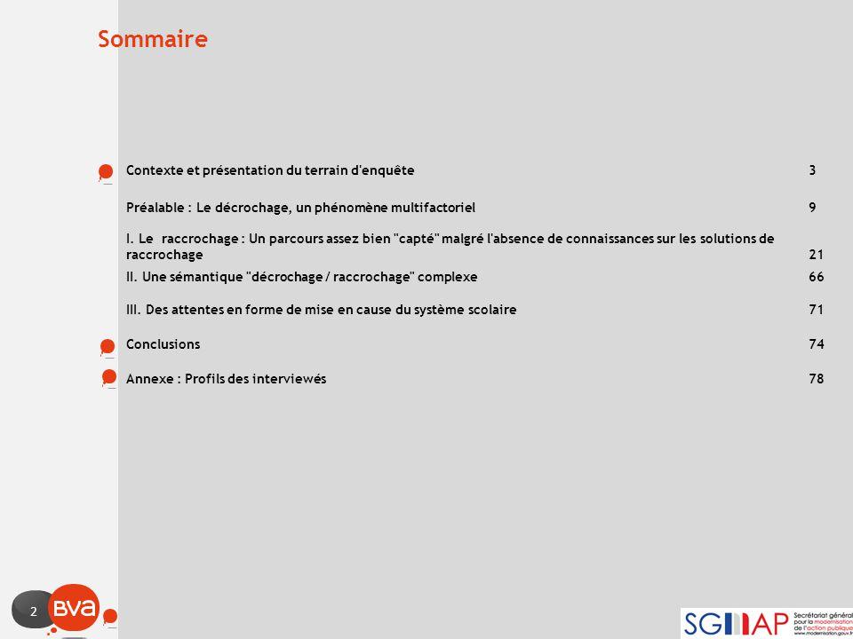 2 Sommaire Contexte et présentation du terrain d'enquête 3 Préalable : Le décrochage, un phénomène multifactoriel 9 I. Le raccrochage : Un parcours as