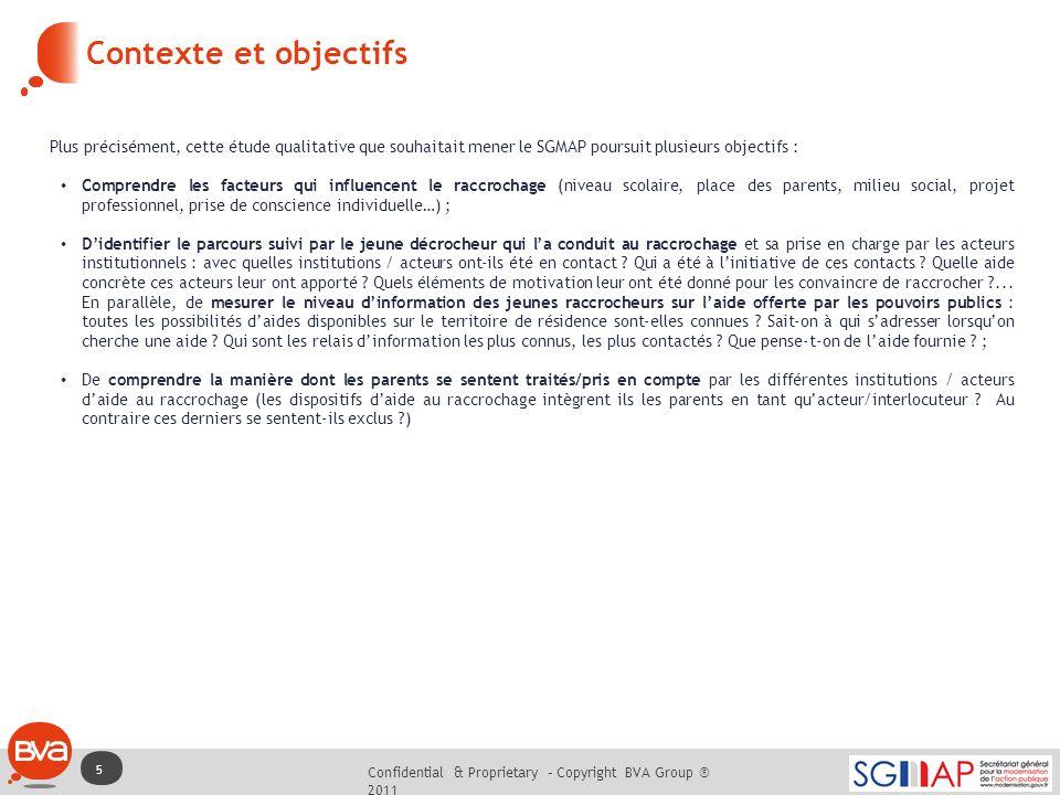 Confidential & Proprietary – Copyright BVA Group ® 2011 6X 5 Contexte et objectifs Plus précisément, cette étude qualitative que souhaitait mener le S
