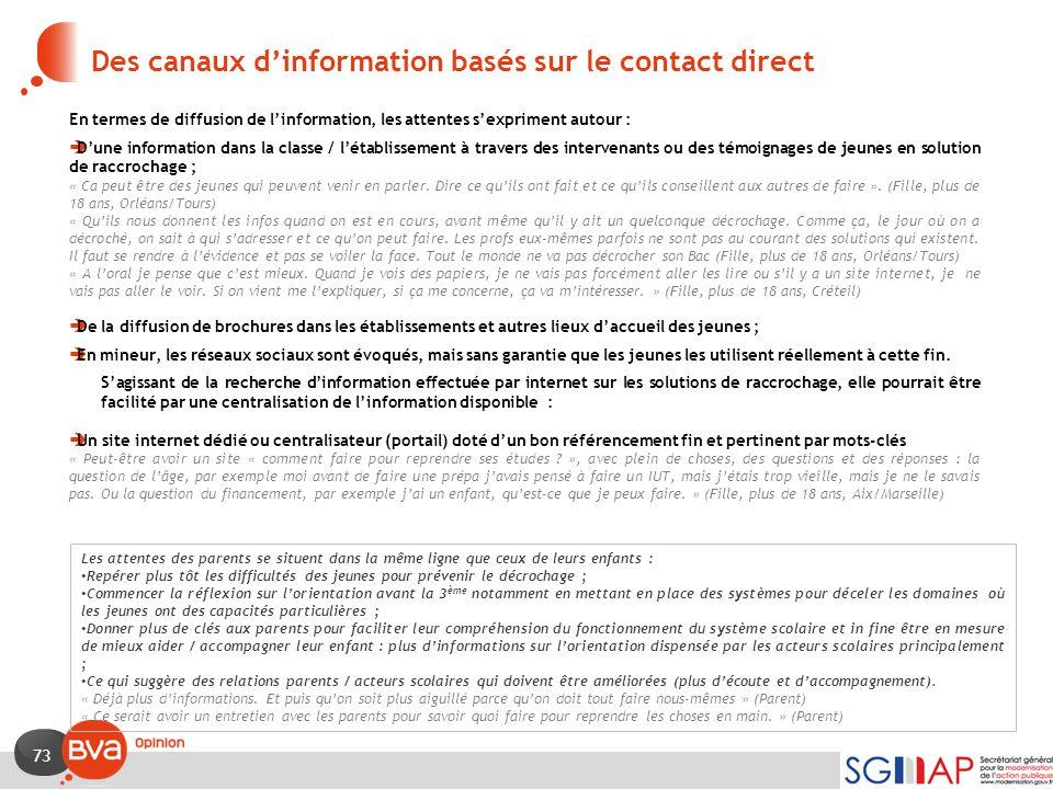 73 Des canaux d'information basés sur le contact direct En termes de diffusion de l'information, les attentes s'expriment autour :  D'une information