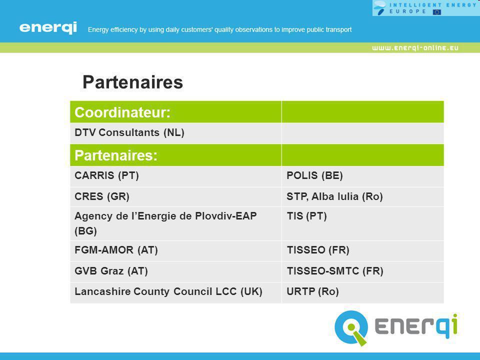 Partenaires Coordinateur: DTV Consultants (NL) Partenaires: CARRIS (PT)POLIS (BE) CRES (GR)STP, Alba Iulia (Ro) Agency de l'Energie de Plovdiv-EAP (BG) TIS (PT) FGM-AMOR (AT)TISSEO (FR) GVB Graz (AT)TISSEO-SMTC (FR) Lancashire County Council LCC (UK)URTP (Ro)
