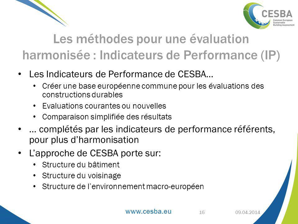 www.cesba.eu Les Indicateurs de Performance de CESBA… Créer une base européenne commune pour les évaluations des constructions durables Evaluations courantes ou nouvelles Comparaison simplifiée des résultats … complétés par les indicateurs de performance référents, pour plus d'harmonisation L'approche de CESBA porte sur: Structure du bâtiment Structure du voisinage Structure de l'environnement macro-européen 09.04.2014 Les méthodes pour une évaluation harmonisée : Indicateurs de Performance (IP) 16