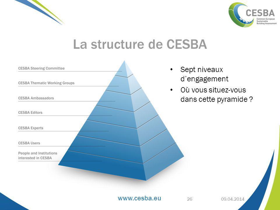 www.cesba.eu 09.04.2014 La structure de CESBA Sept niveaux d'engagement Où vous situez-vous dans cette pyramide .