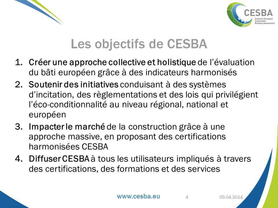 www.cesba.eu 1.Créer une approche collective et holistique de l'évaluation du bâti européen grâce à des indicateurs harmonisés 2.Soutenir des initiatives conduisant à des systèmes d'incitation, des règlementations et des lois qui privilégient l'éco-conditionnalité au niveau régional, national et européen 3.Impacter le marché de la construction grâce à une approche massive, en proposant des certifications harmonisées CESBA 4.Diffuser CESBA à tous les utilisateurs impliqués à travers des certifications, des formations et des services 09.04.2014 Les objectifs de CESBA 4