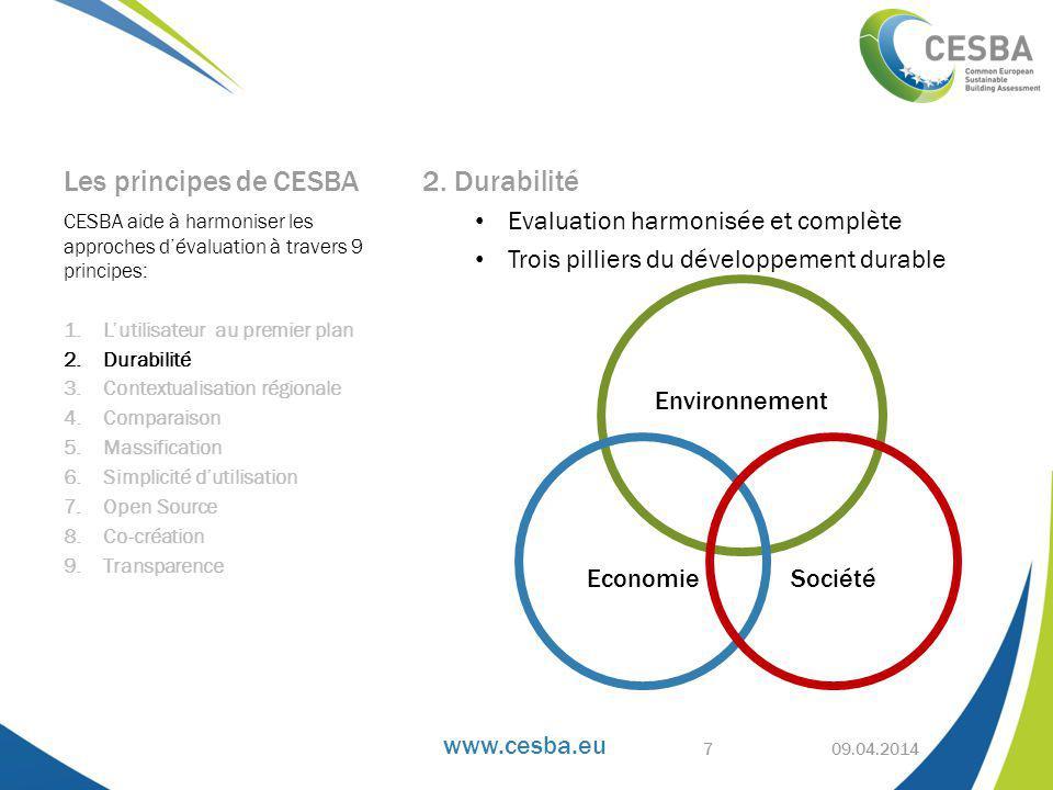 www.cesba.eu Les principes de CESBA 2.