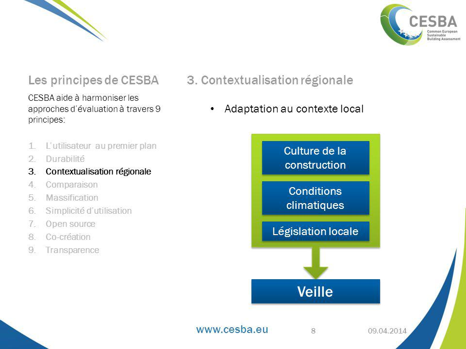 www.cesba.eu Les principes de CESBA 3.