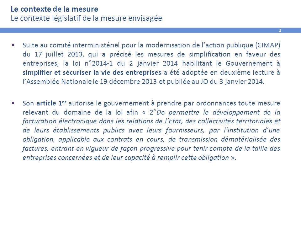 4 Le contexte de la mesure Le calendrier des travaux de rédaction de l'ordonnance  La loi n°2014-1 du 2 janvier 2014 habilitant le Gouvernement à simplifier et sécuriser la vie des entreprises a été publiée au JO du 3 janvier 2014.