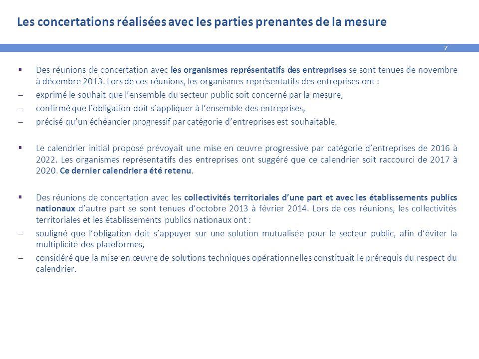 7 Les concertations réalisées avec les parties prenantes de la mesure  Des réunions de concertation avec les organismes représentatifs des entreprise