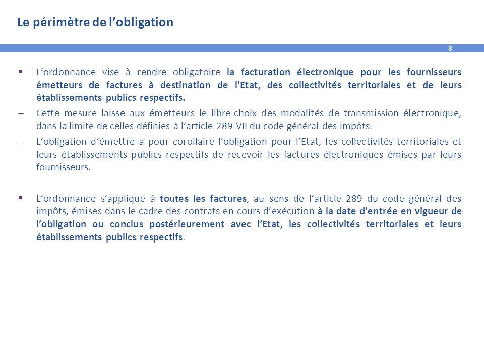 8 Le périmètre de l'obligation  L'ordonnance vise à rendre obligatoire la facturation électronique pour les fournisseurs émetteurs de factures à dest