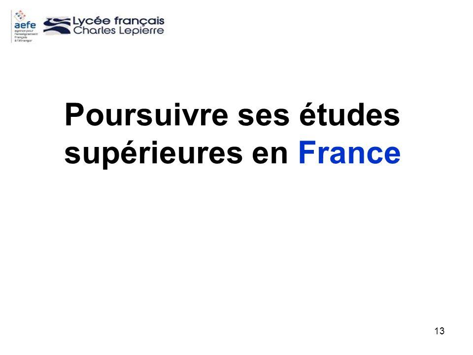 13 Poursuivre ses études supérieures en France