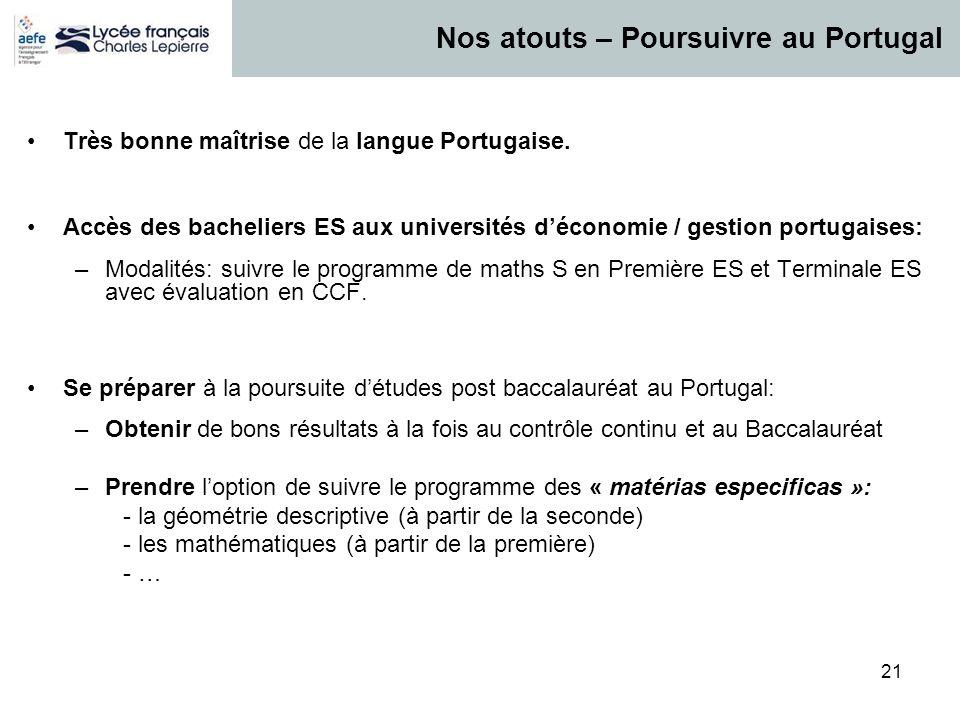 21 Très bonne maîtrise de la langue Portugaise. Accès des bacheliers ES aux universités d'économie / gestion portugaises: –Modalités: suivre le progra