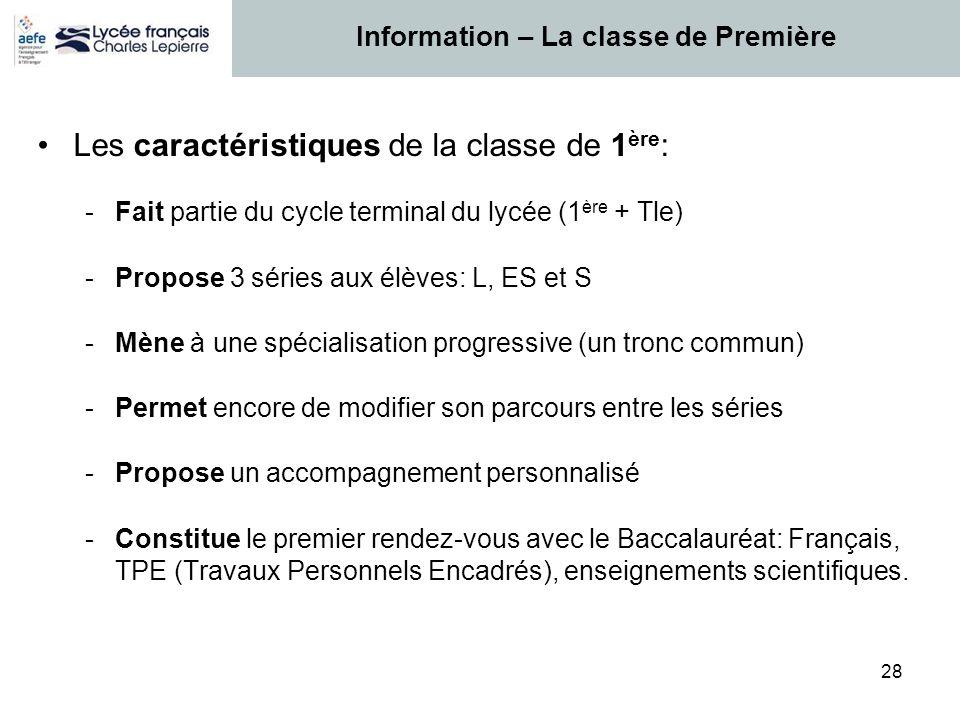 28 Les caractéristiques de la classe de 1 ère : -Fait partie du cycle terminal du lycée (1 ère + Tle) -Propose 3 séries aux élèves: L, ES et S -Mène à