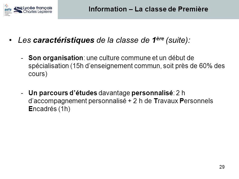 29 Les caractéristiques de la classe de 1 ère (suite): -Son organisation: une culture commune et un début de spécialisation (15h d'enseignement commun