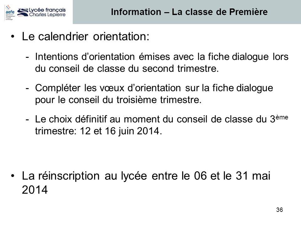 36 Le calendrier orientation: -Intentions d'orientation émises avec la fiche dialogue lors du conseil de classe du second trimestre. -Compléter les vœ