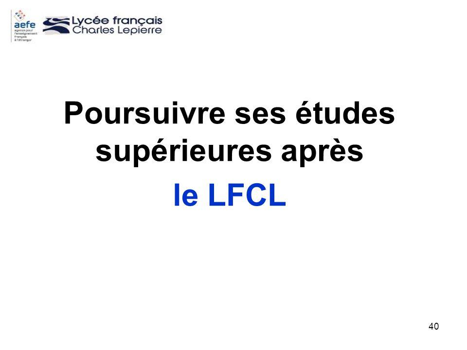 40 Poursuivre ses études supérieures après le LFCL