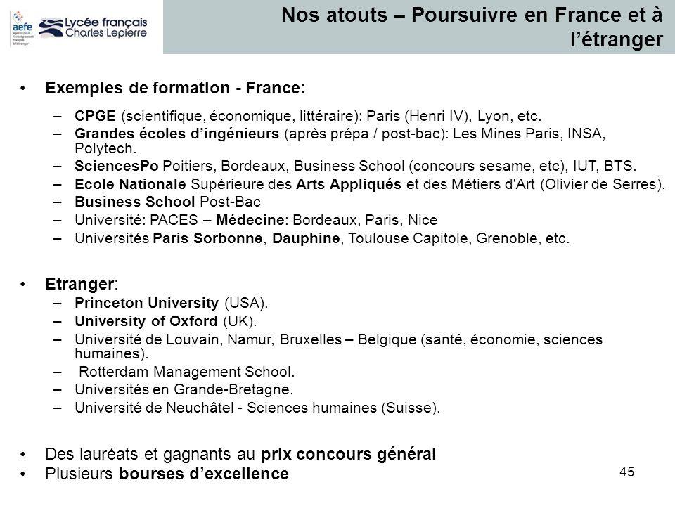 45 Nos atouts – Poursuivre en France et à l'étranger Exemples de formation - France: –CPGE (scientifique, économique, littéraire): Paris (Henri IV), L