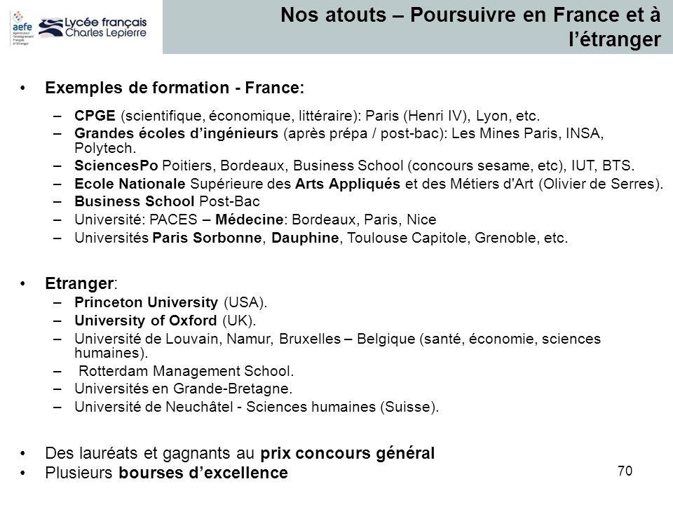 70 Nos atouts – Poursuivre en France et à l'étranger Exemples de formation - France: –CPGE (scientifique, économique, littéraire): Paris (Henri IV), L