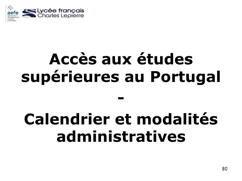 80 Accès aux études supérieures au Portugal - Calendrier et modalités administratives