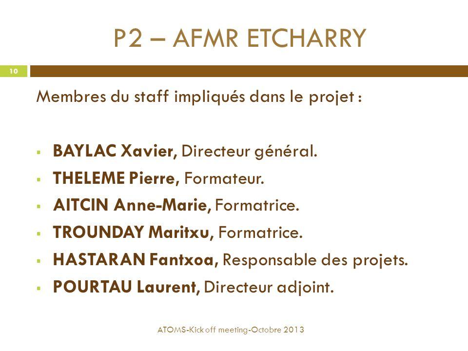 P2 – AFMR ETCHARRY Membres du staff impliqués dans le projet :  BAYLAC Xavier, Directeur général.  THELEME Pierre, Formateur.  AITCIN Anne-Marie, F