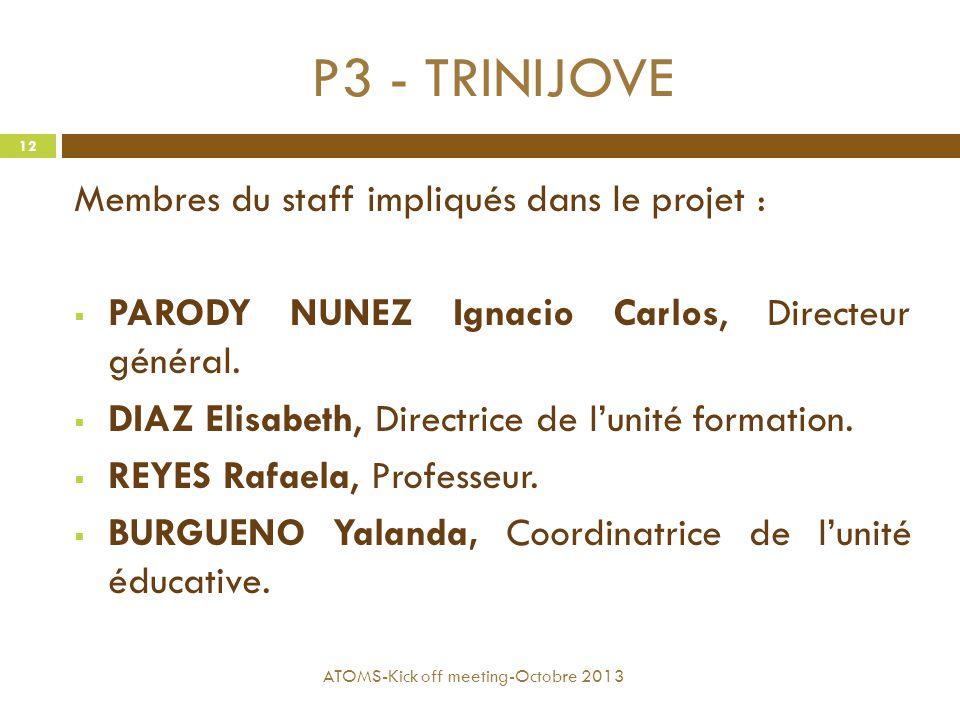 P3 - TRINIJOVE Membres du staff impliqués dans le projet :  PARODY NUNEZ Ignacio Carlos, Directeur général.  DIAZ Elisabeth, Directrice de l'unité f