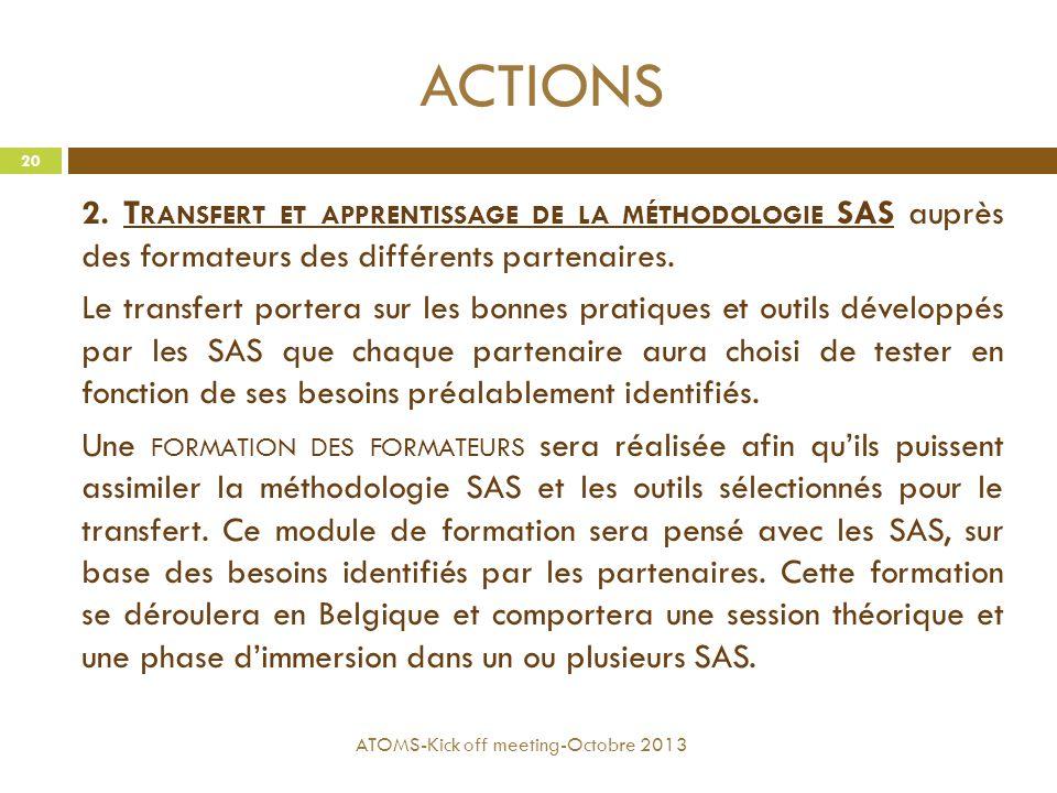 ACTIONS 2. T RANSFERT ET APPRENTISSAGE DE LA MÉTHODOLOGIE SAS auprès des formateurs des différents partenaires. Le transfert portera sur les bonnes pr