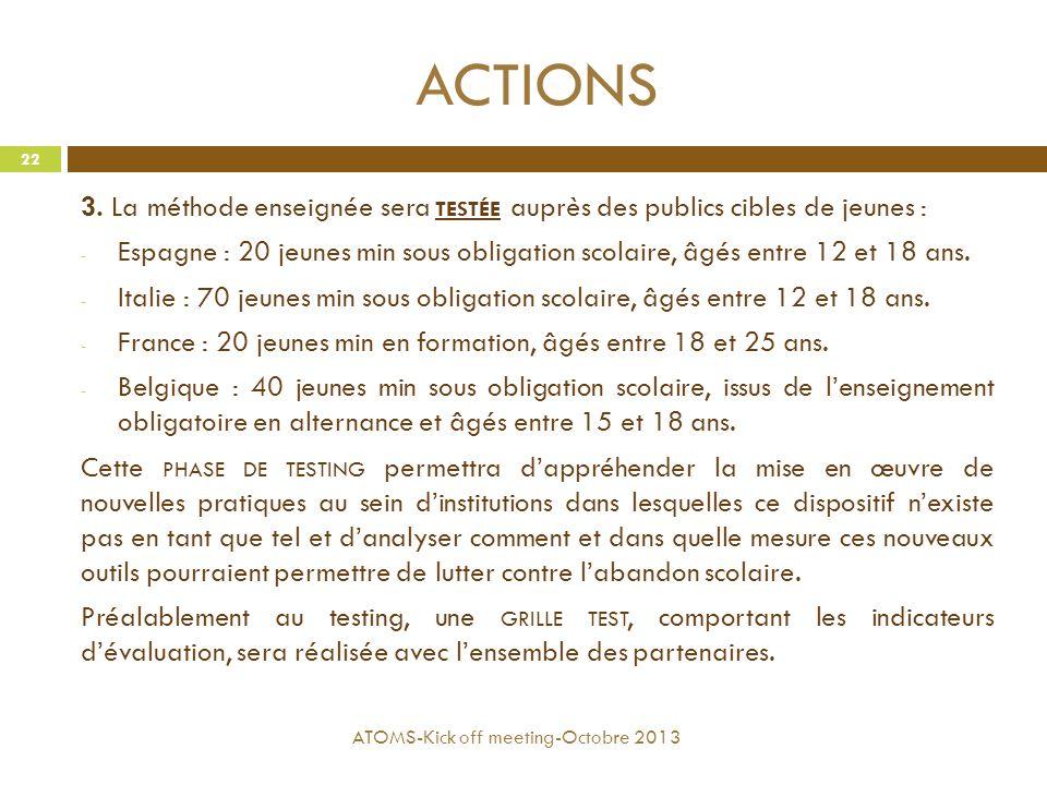 ACTIONS 3. La méthode enseignée sera TESTÉE auprès des publics cibles de jeunes : - Espagne : 20 jeunes min sous obligation scolaire, âgés entre 12 et