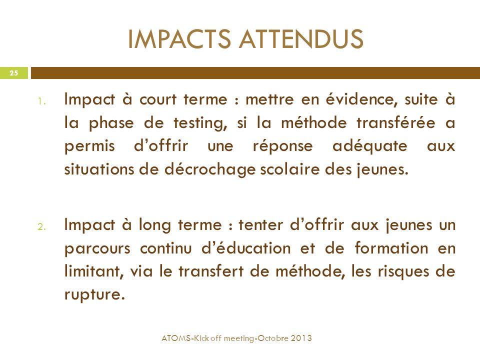 IMPACTS ATTENDUS 1. Impact à court terme : mettre en évidence, suite à la phase de testing, si la méthode transférée a permis d'offrir une réponse adé