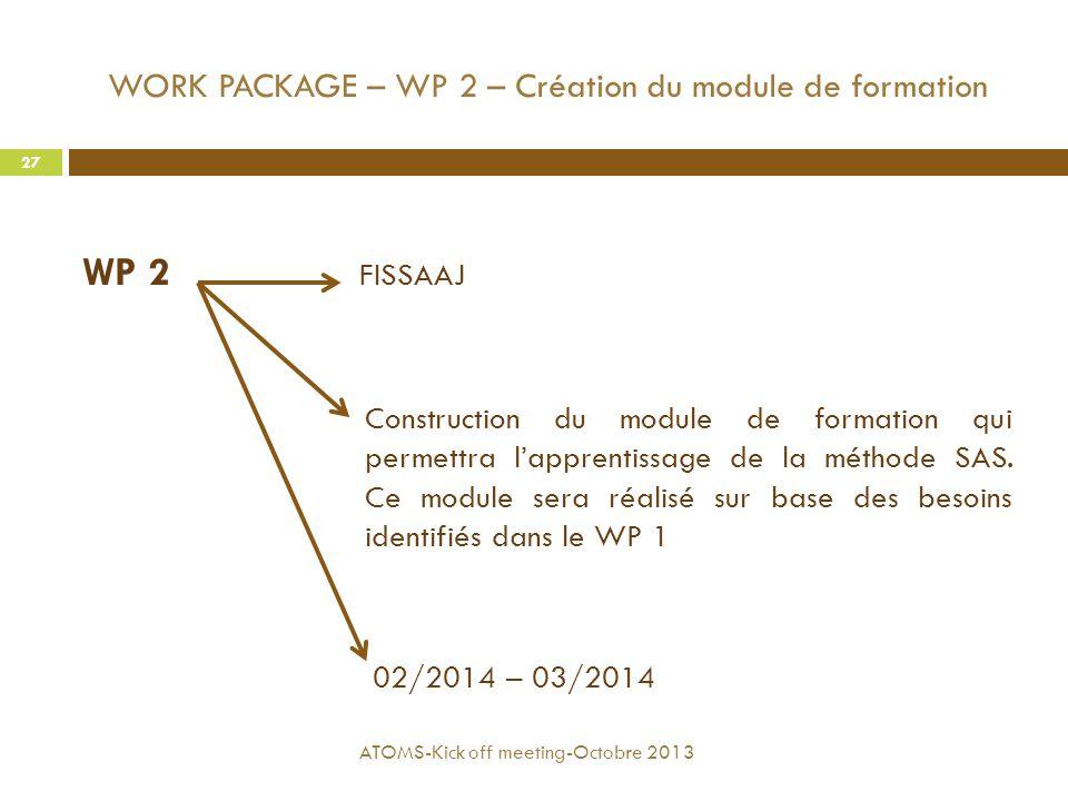 WORK PACKAGE – WP 2 – Création du module de formation WP 2 FISSAAJ Construction du module de formation qui permettra l'apprentissage de la méthode SAS