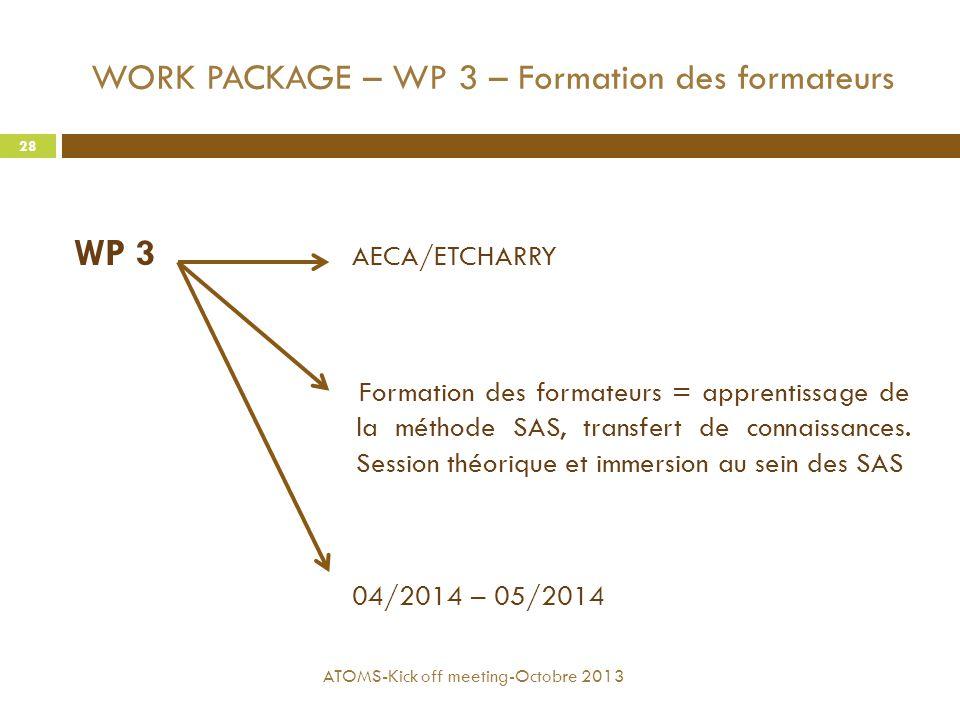 WORK PACKAGE – WP 3 – Formation des formateurs WP 3 AECA/ETCHARRY Formation des formateurs = apprentissage de la méthode SAS, transfert de connaissanc