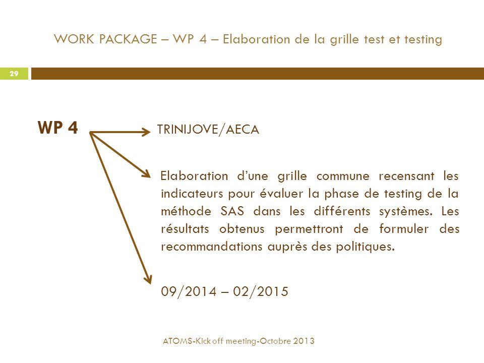 WORK PACKAGE – WP 4 – Elaboration de la grille test et testing WP 4 TRINIJOVE/AECA Elaboration d'une grille commune recensant les indicateurs pour éva