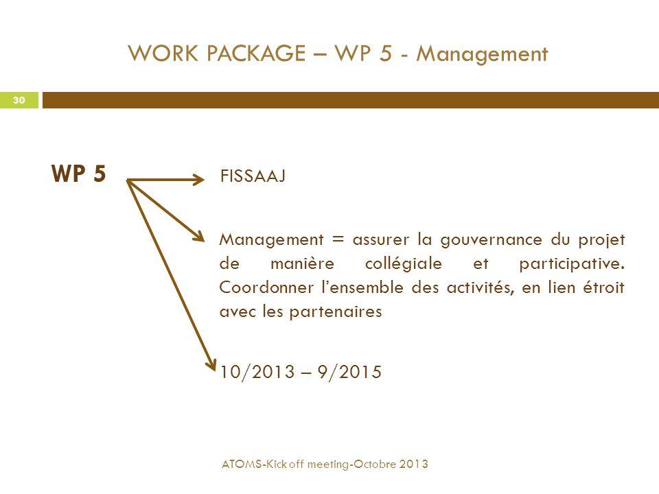 WORK PACKAGE – WP 5 - Management WP 5 FISSAAJ Management = assurer la gouvernance du projet de manière collégiale et participative. Coordonner l'ensem
