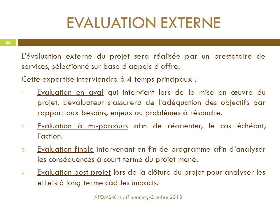 EVALUATION EXTERNE L'évaluation externe du projet sera réalisée par un prestataire de services, sélectionné sur base d'appels d'offre. Cette expertise