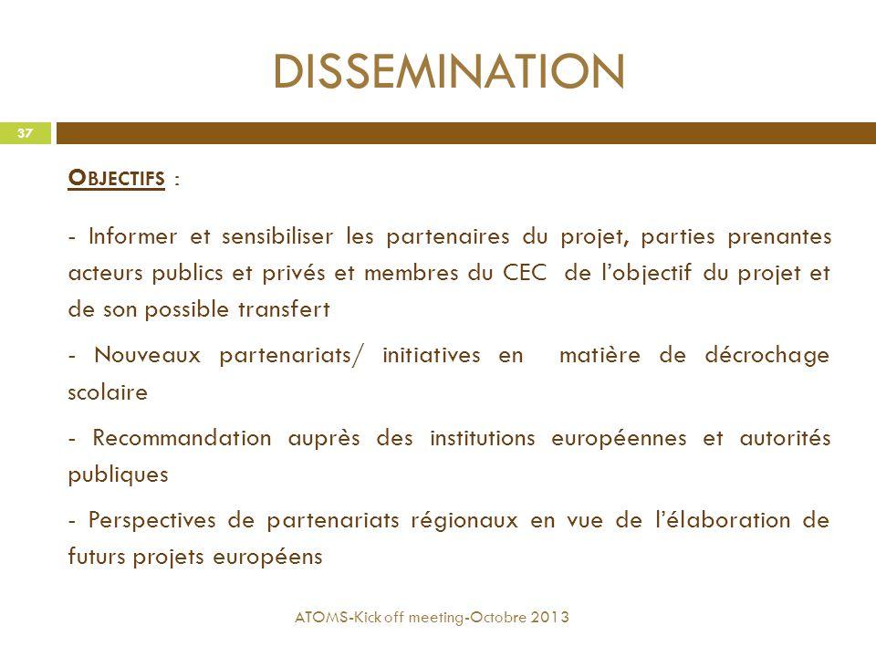 DISSEMINATION O BJECTIFS : - Informer et sensibiliser les partenaires du projet, parties prenantes acteurs publics et privés et membres du CEC de l'ob