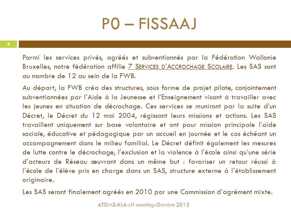 P0 – FISSAAJ Parmi les services privés, agréés et subventionnés par la Fédération Wallonie Bruxelles, notre fédération affilie 7 S ERVICES D 'A CCROCH