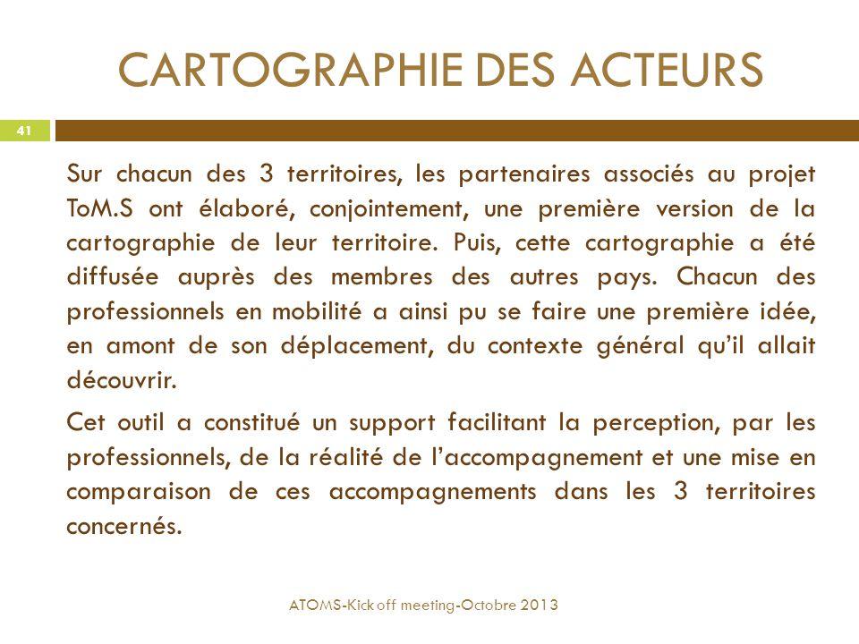 CARTOGRAPHIE DES ACTEURS Sur chacun des 3 territoires, les partenaires associés au projet ToM.S ont élaboré, conjointement, une première version de la