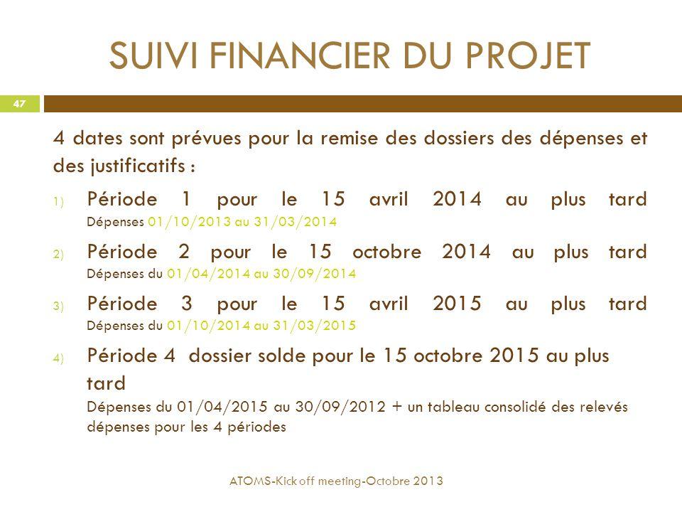 SUIVI FINANCIER DU PROJET 4 dates sont prévues pour la remise des dossiers des dépenses et des justificatifs : 1) Période 1 pour le 15 avril 2014 au p